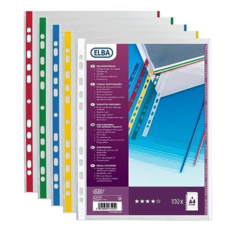 Elba 100206880 - Carpetillas perforadas (100 unidades, A4, polipropileno 9/100)