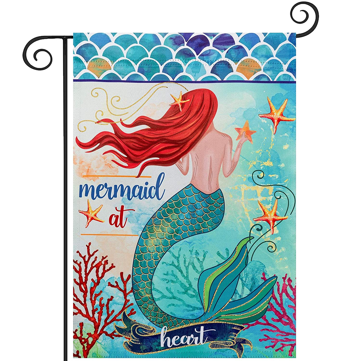 Mermaid at Heart Summer Garden Flag, hogardeck Premium Polyester Yard Flag, Vertical Double Sided Vividly Colourd Holiday Home Decor, Outdoor Indoor Front Porch Decor, 12.5 x 18 inch