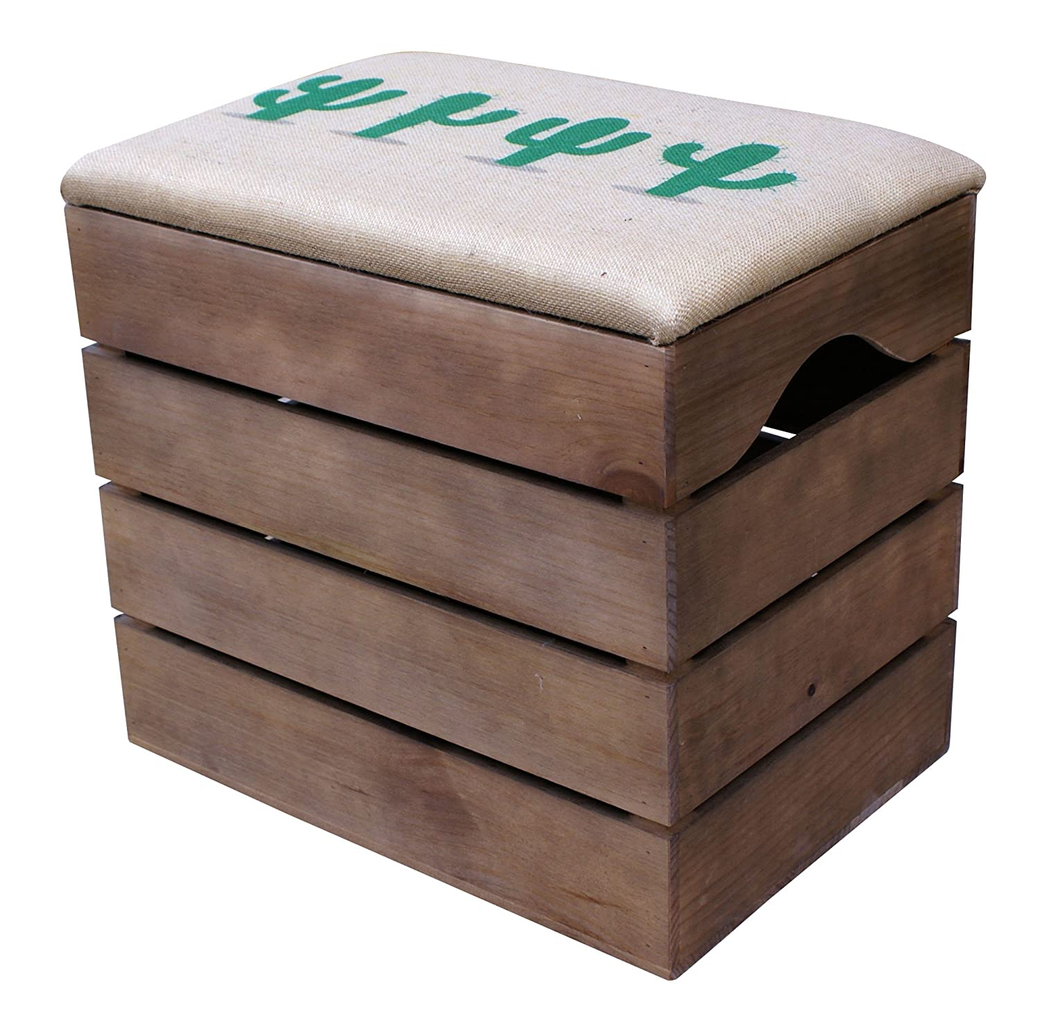 LIZA LINE PREMIUM WOODEN STORAGE STOOL BENCH (WALNUT BROWN), for Shoes. Organiser, Pouffe, Toy Box Chest. Vintage Style with Soft Seat Cushion. Solid Nordic Wood - 50 x 45 x 36 cm (Black Cactus)