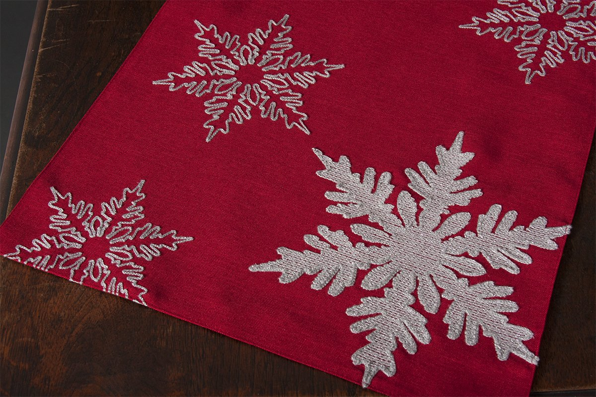 Xia Home Fashions XD17141 Glisten Snowflake Embroidered Christmas Table Runner 16 x 36-Inch Red