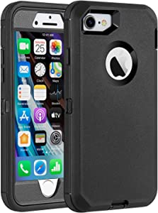 Case for iPhone 7/iPhone 8 Built-in Screen Protector Heavy Duty Shockproof Drop-Proof Dustproof Triple Layer Defense for iPhone 7/iPhone 8 (Black)