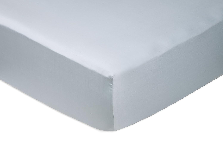 AmazonBasics - Sábana bajera ajustable (algodón satén 400 hilos, antiarrugas) Azul ahumado - 160 x 200 x 30 cm: Amazon.es: Hogar
