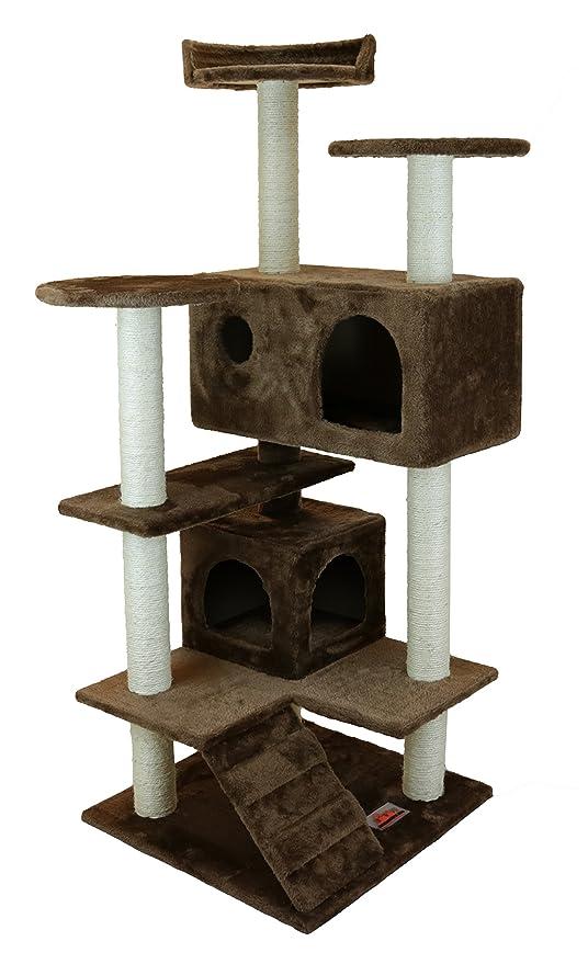 Rascador Árbol para gatos del Horno Gizmo marrón medio Massive cueva de madera de sisal troncos
