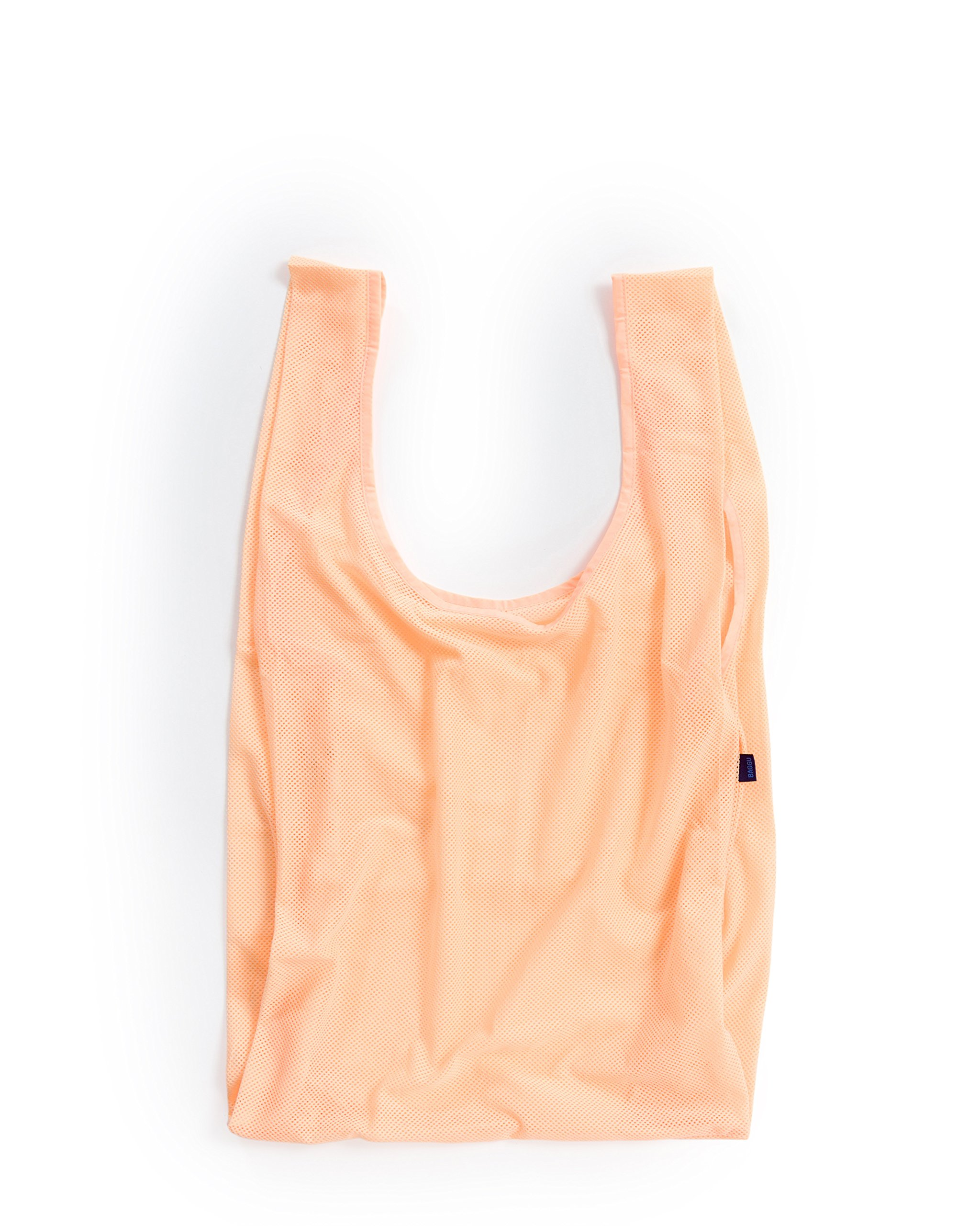 BAGGU Reusable Mesh Tote, Stylish and Eco-friendly Bag Ideal for the Gym or Beach, Electric Peach