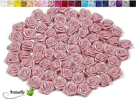 100 Satinrosen 15mm Rosenköpfe Bastelblumen Satinröschen Hochzeit Streudeko Deko