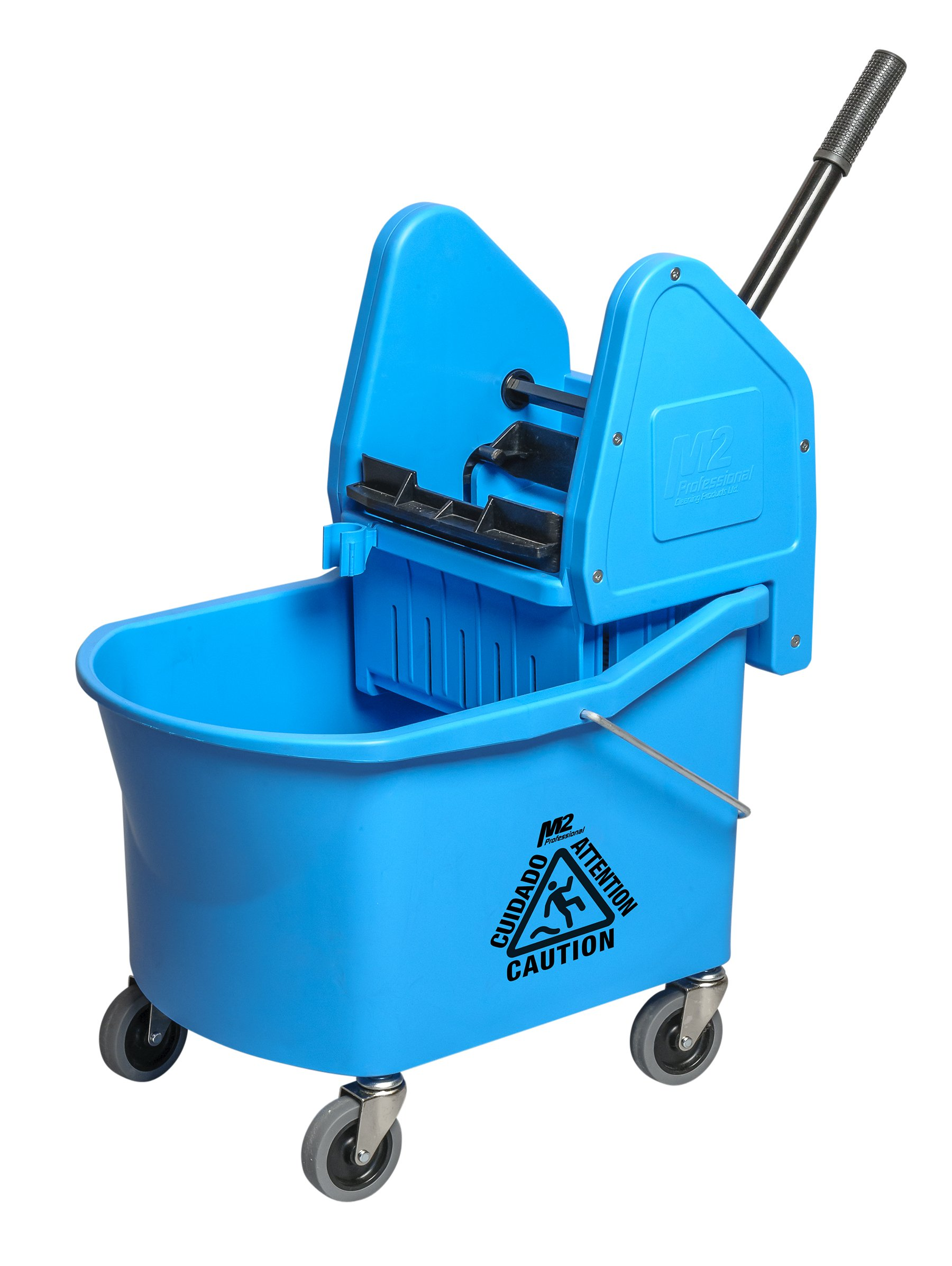 M2 Professional 32Qt/30L Grizzly Mop Bucket with Down-Press Wringer - Blue