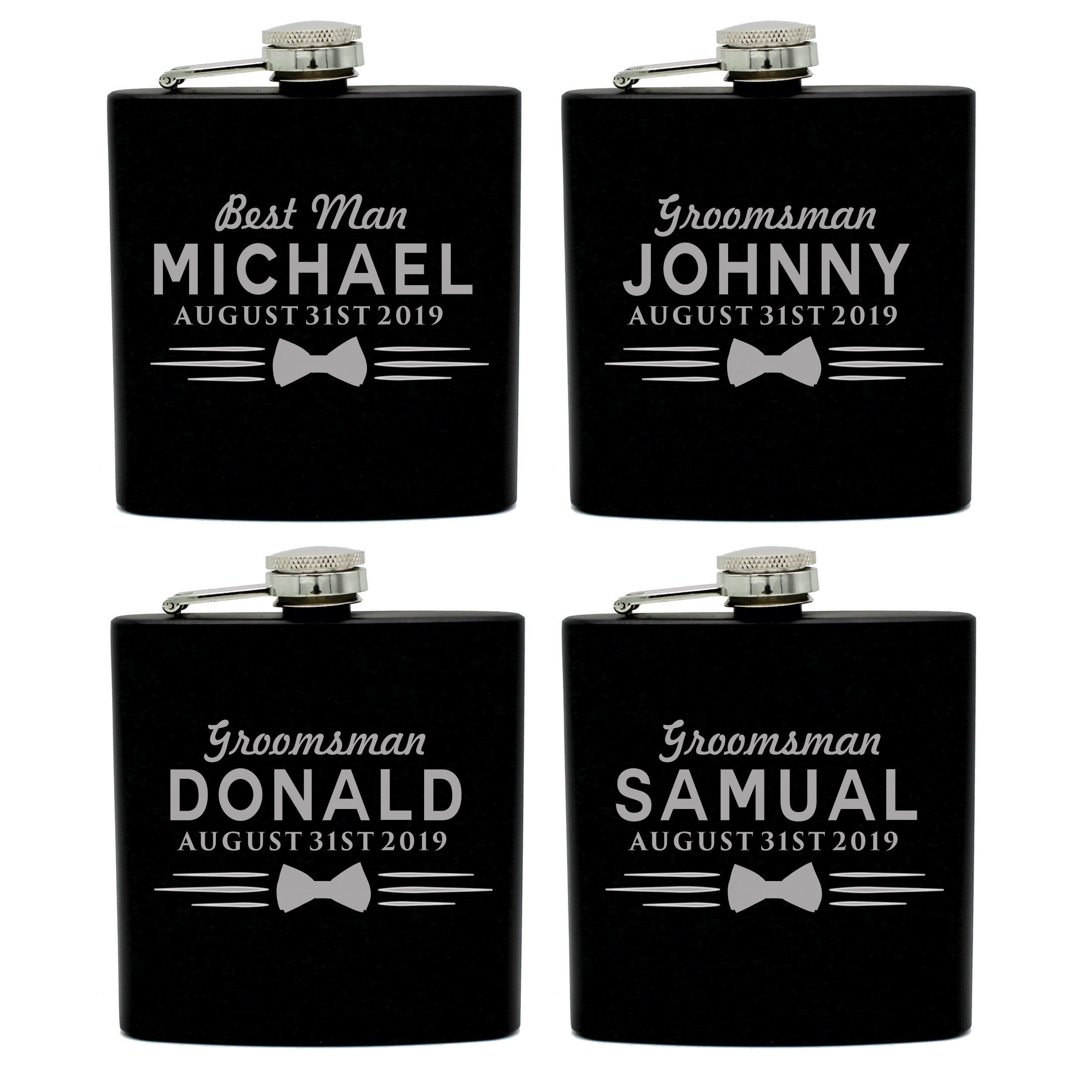Set of 4, Set of 7 and more Custom Personalized Black Matte Flasks for Groomsmen Gifts - Uniform Style (4) by My Personal Memories