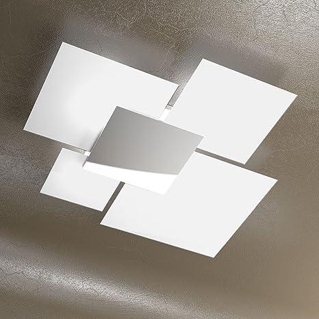 Plafoniera a soffitto grande 90cm Lampadario design moderno SKUGGA in  Cristallo colore Bianco e Acciaio Cromato Design Amazon.it Illuminazione