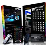 10pc Aura Motorcycle LED Light Kit   Multi-Color Accent Glow Neon Strips w/Switch for Cruisers