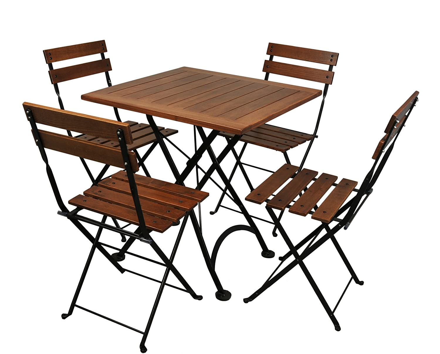Amazon.com : Mobel Designhaus French Café Bistro Folding Side Chair, Jet  Black Frame, European Chestnut Wood Slats With Walnut Stain (Pack Of 2) :  Patio ...