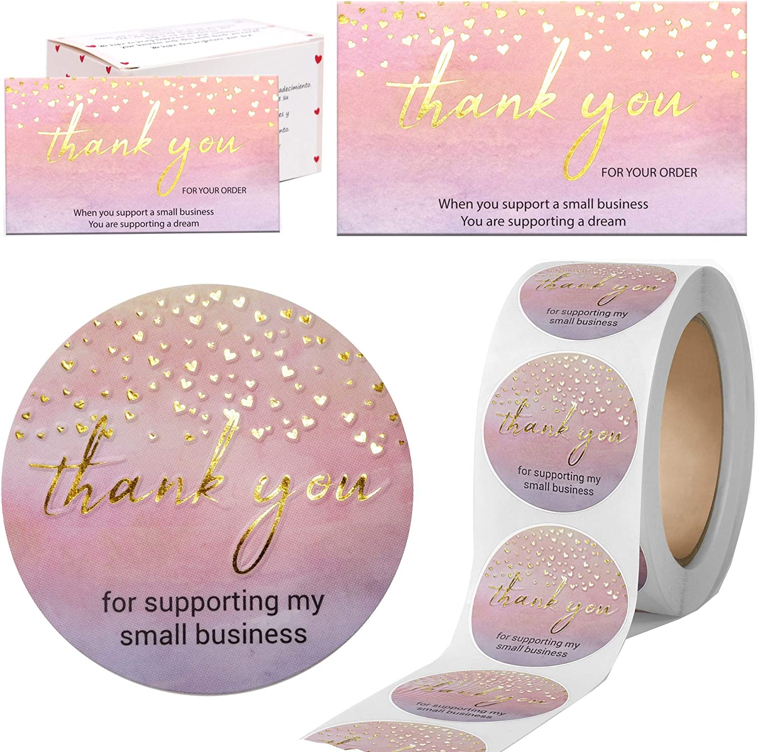 """Modern 5th - 500PCS Thank You for Supporting My Small Business Cards and Stickers Set, Watercolor with Gold Foil Hearts (3.5x2 inches 100pcs Cards and 1.5"""" Round 400pcs Stickers) for Package Inserts: Kitchen & Dining"""