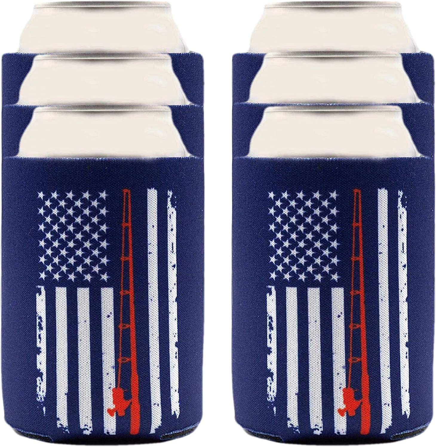 Fishing Gifts For Men & Women Can Cooler 6-Pack, Insulated Beer Sleeves Bundle for Bass, Trout, Saltwater and Fly Fishing, Patriotic Gift for Dad, Grandpa, Brother, Boyfriend [Navy Blue American Flag]