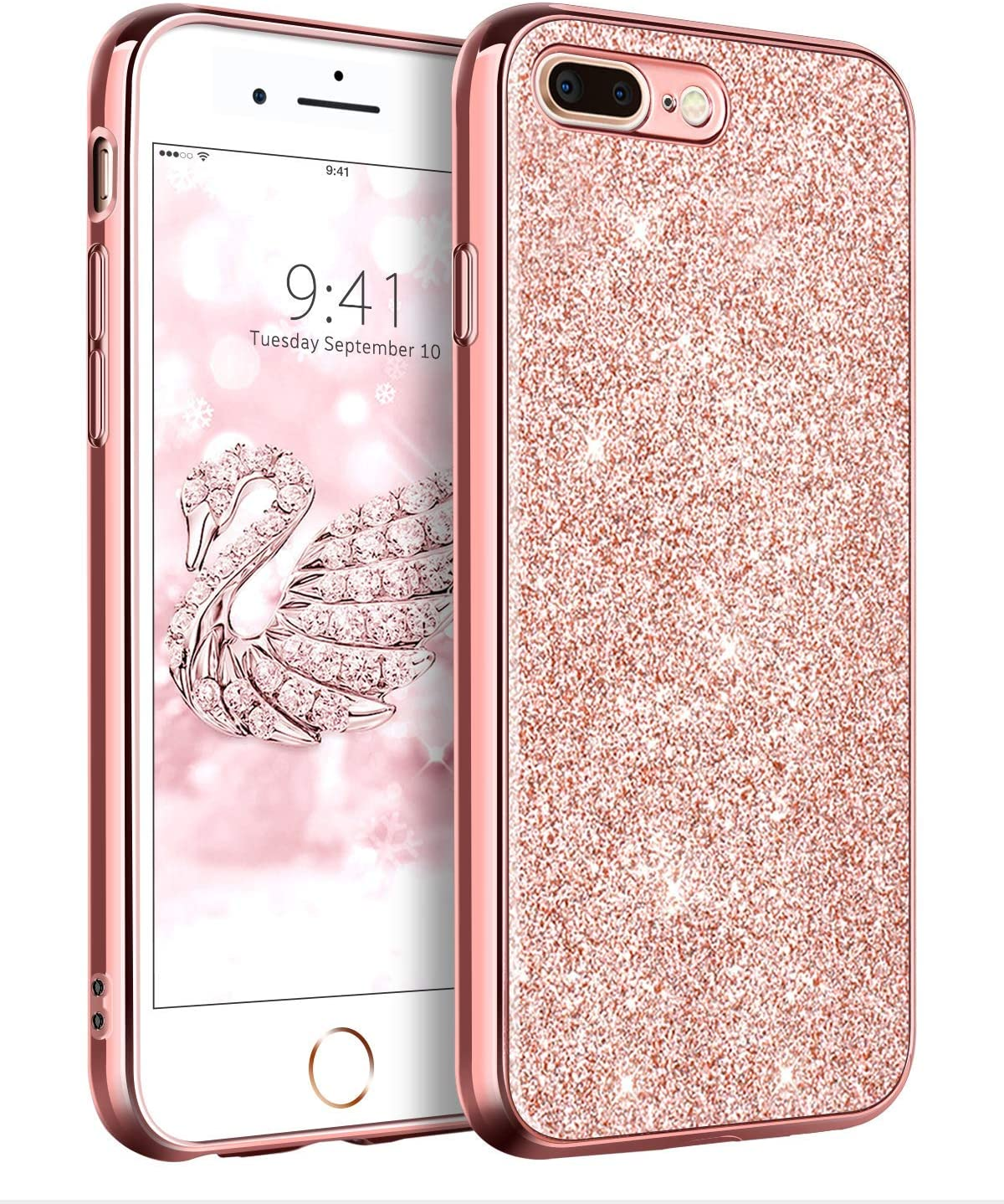 DUEDUE iPhone 7 Plus Case, iPhone 8 Plus Case, Sparkly Glitter Slim Hybrid Hard PC Shockproof Non-Slip,Full Body Protective Phone Cover for iPhone 7 Plus/iPhone 8 Plus for Women/Girls,Rose Gold