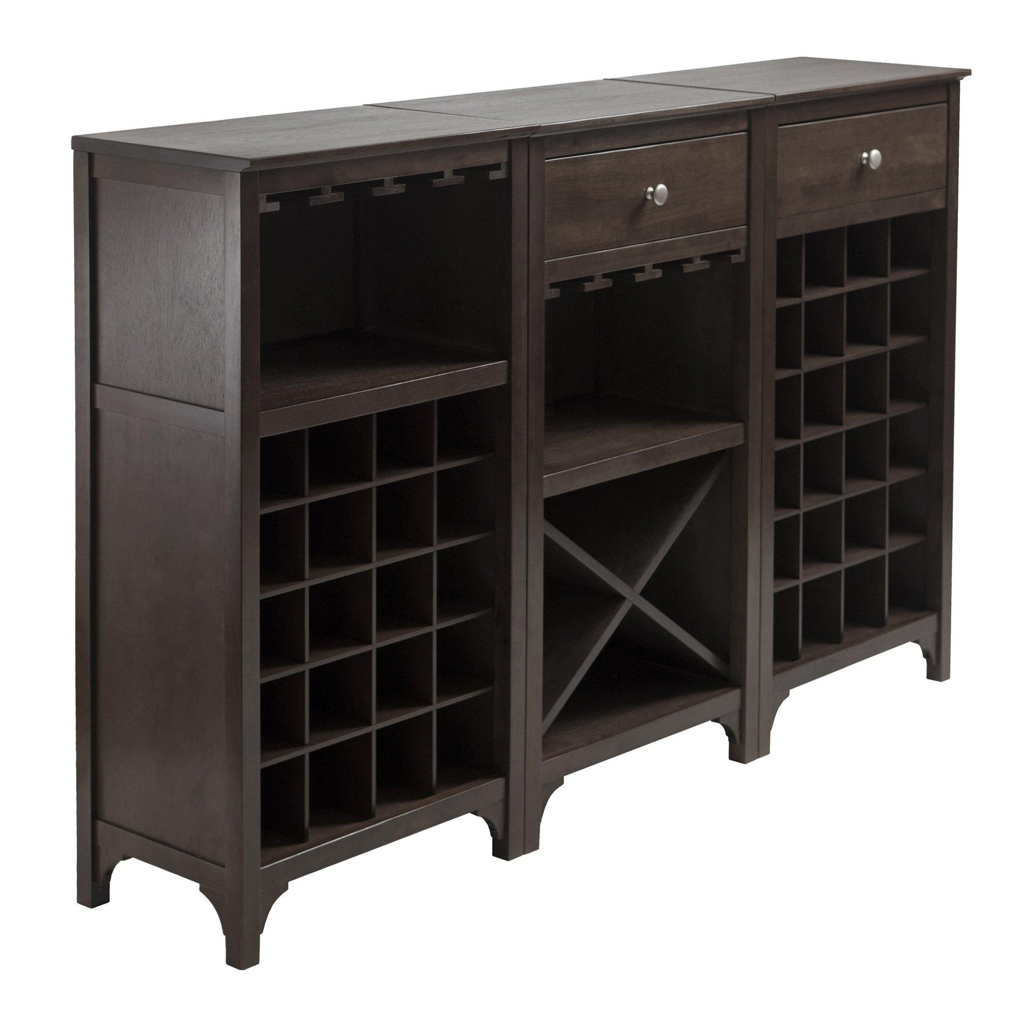 Winsome 3-Piece Ancona Wine Cabinet Modular Set, Black by Winsome