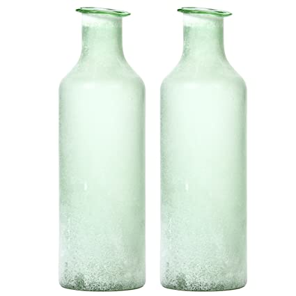 Amazon Hosley Set Of 2 Large Green Salted Glass Vases 135
