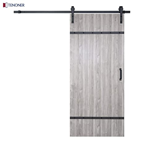 Tenoner Diy 36in X 84in Trendy Nordic Style Grey Unfinished But Easy To Assemble Sliding Barn Door 6 6ft Barn Door Hardware Kit Handle Included