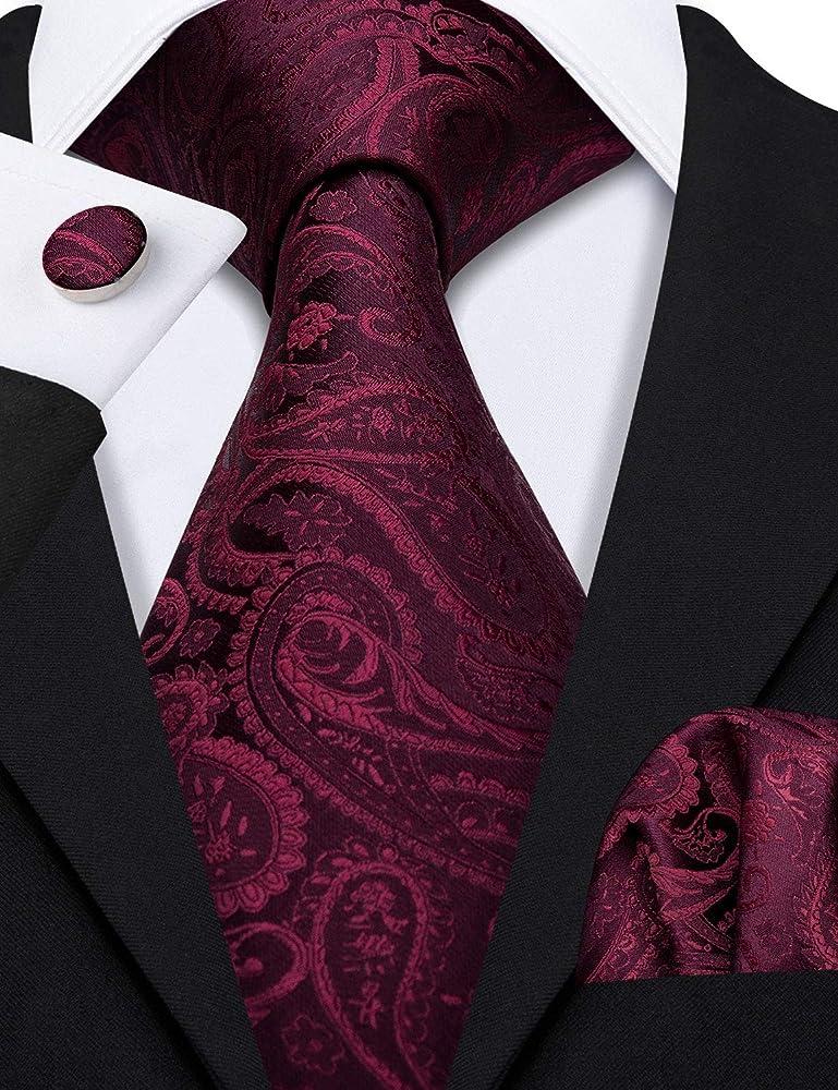 Barry.Wang - Juego de corbatas para hombre, color liso, pañuelo y ...