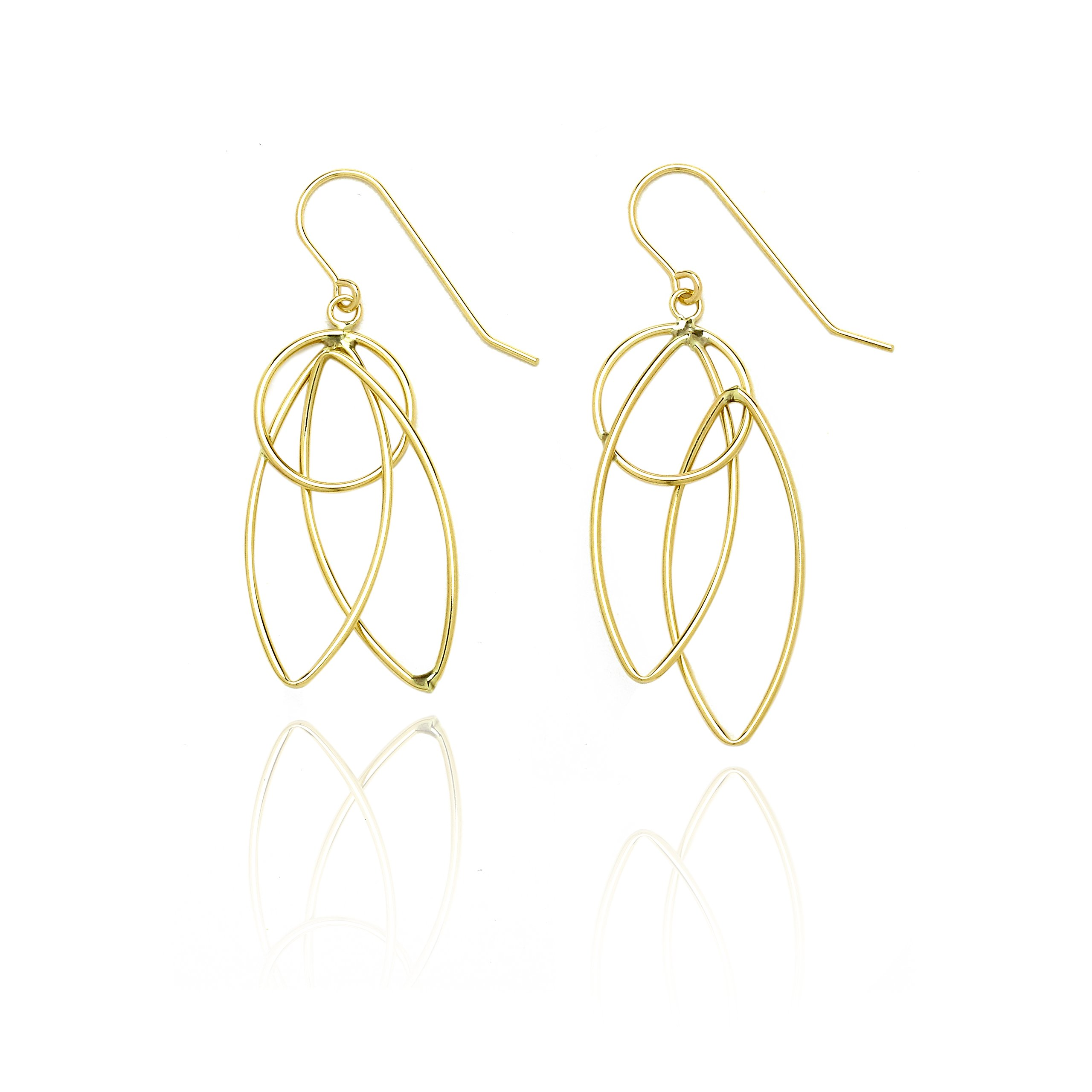 14k Yellow Gold Pointing Oval and Circle Dangling Drop Earring in Gift Box for Women and Teen Girls
