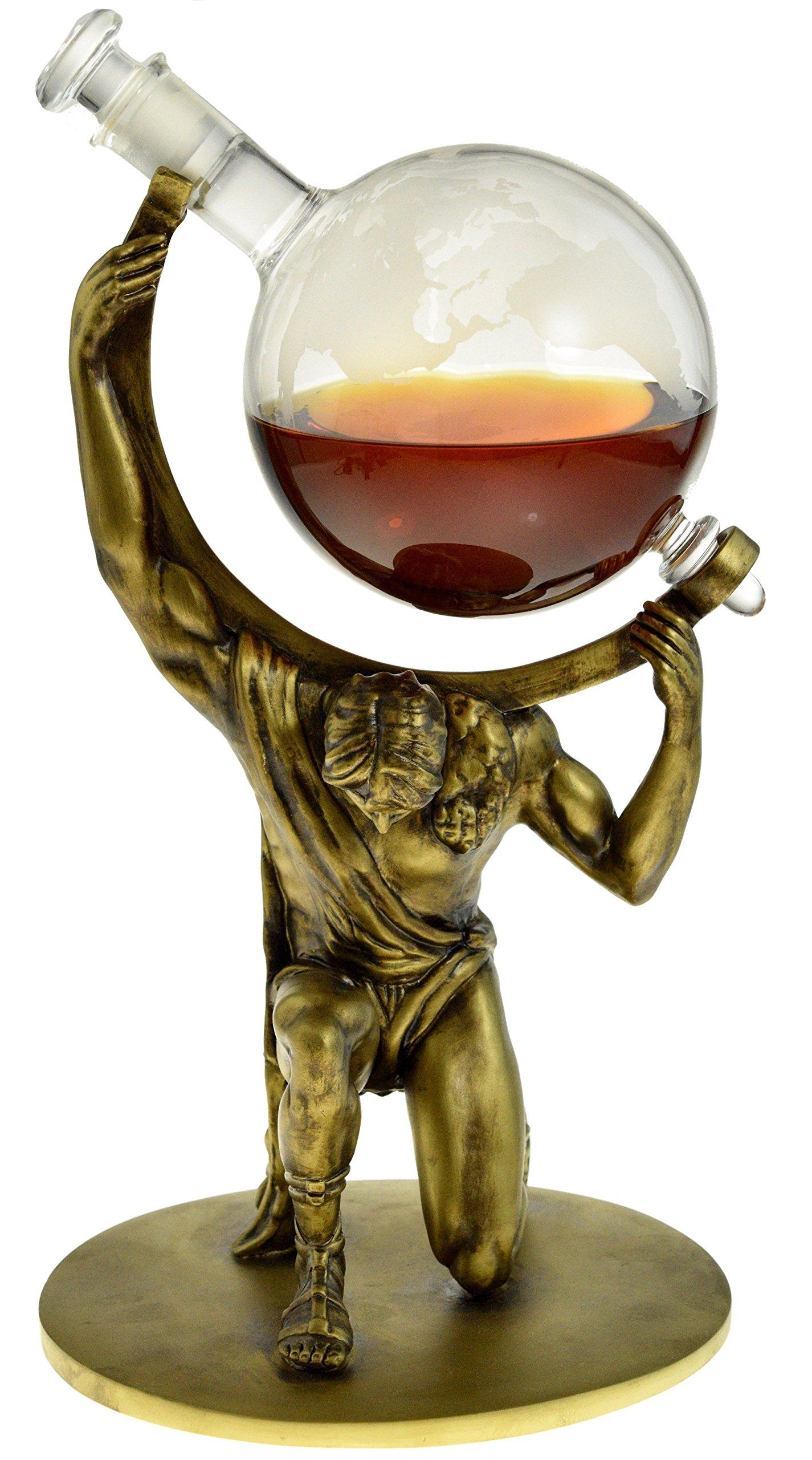 Atlas Etched Globe Liquor Decanter - Scotch Whiskey Decanter - 1000ml Glass Decanter With Atlas Base - Vodka, Bourbon, Rum, Wine, Tequila (Atlas: Bearer of Worldly Spirits) Prestige Decanters