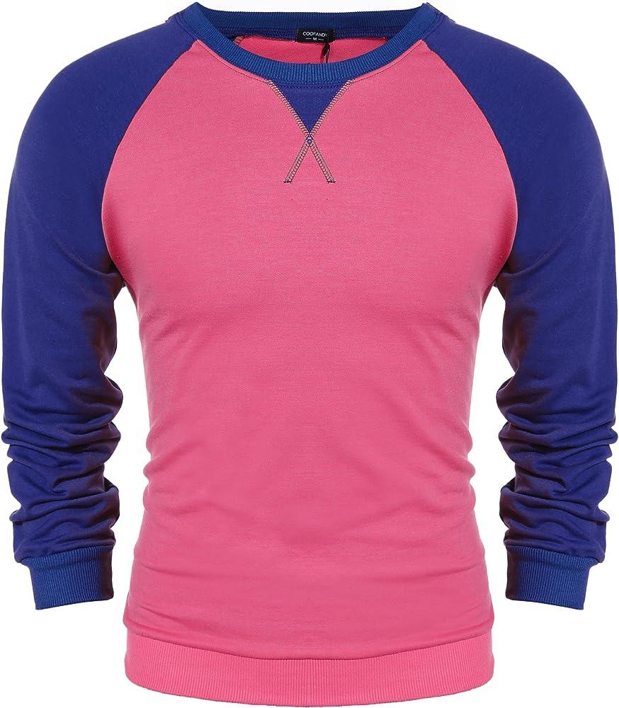 Camiseta informal Coofandy de manga larga raglán para hombre, en algodón Rosa rosa L: Amazon.es: Ropa y accesorios