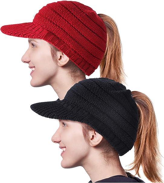 Gorra con Visera Sombrero de Punto de Cable con Agujero de Cola de ...