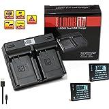 LOOKit® - 2x Premium Batterie BLG10 - 850mAh + Double Chargeur pour Panasonic LUMIX DC TZ90 TZ91 TZ100 TZ101 TZ80 TZ81 GX80