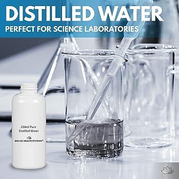 250ml) Agua destilada a vapor lento y 100% puro de varios tamaños Multiuso [Calidad alimentaria/Calidad médica/Libre de BPA] por Bio-Lec Health Systems®: Amazon.es: Salud y cuidado personal