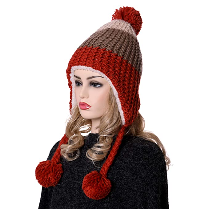 1a7c34c6b07 YEBING Womens Girls Super Thick Warm Soft Cable Earflap Beanie Hat Fleece  Lined with Pom Pom