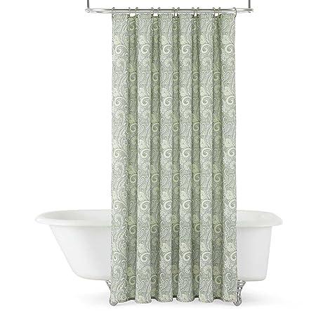 Royal Velvet Paisley Shower Curtain Green Amazoncouk Kitchen Home