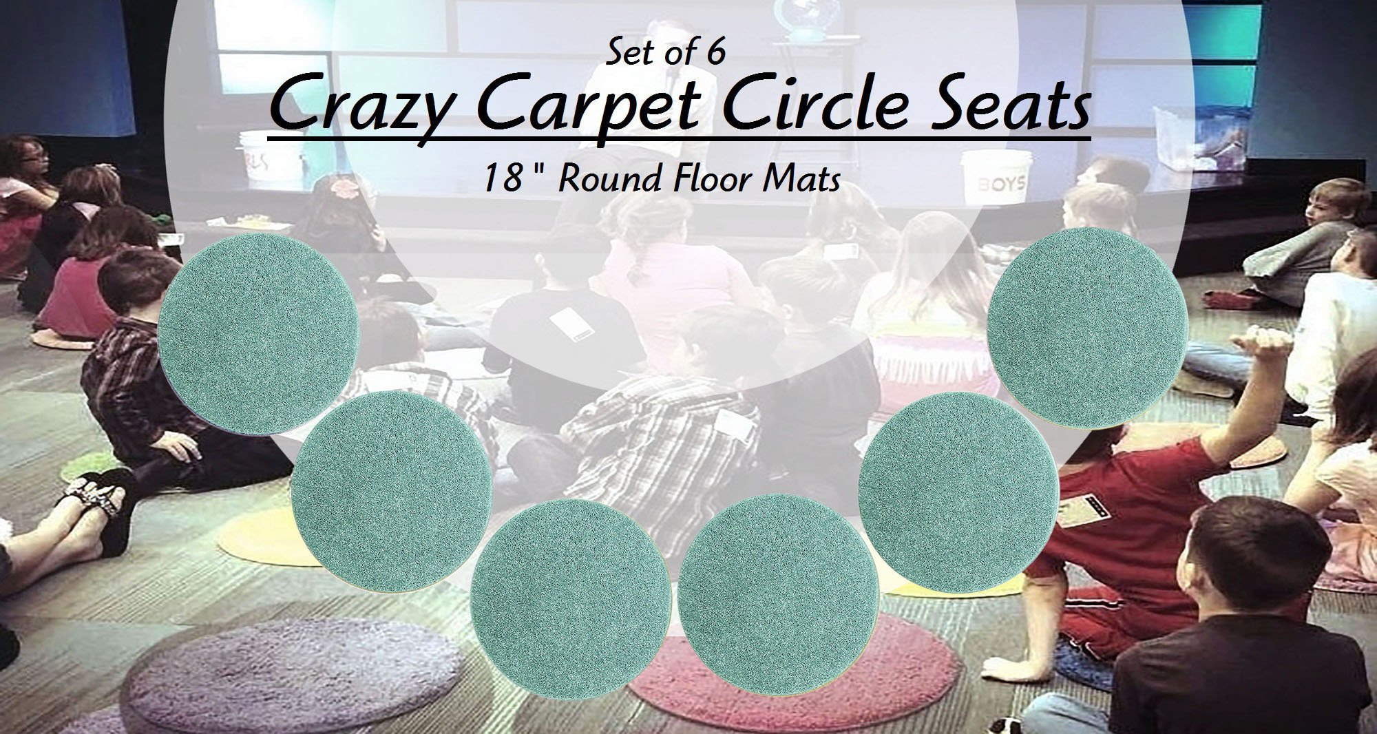 CHILDREN'S CRAZY CARPET CIRCLE SEATS - Soft Aqua Blue/Green 18'' Round Rug Mats – NEW Cut Pile