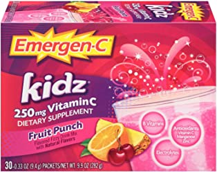 Emergen-C Kidz (30 Count, Fruit Punch Flavor, 1 Month Supply) Dietary Supplement Fizzy Drink Mix With 250mg Vitamin C, 0.33 Ounce Packets, Caffeine Free