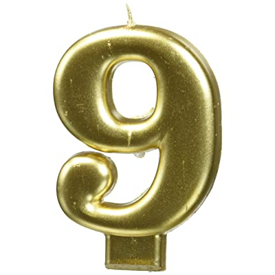 """amscan Birthday Celebration, Numeral #9 Metallic Candle, Party Supplies, Gold, 3 1/4"""": Kitchen & Dining"""