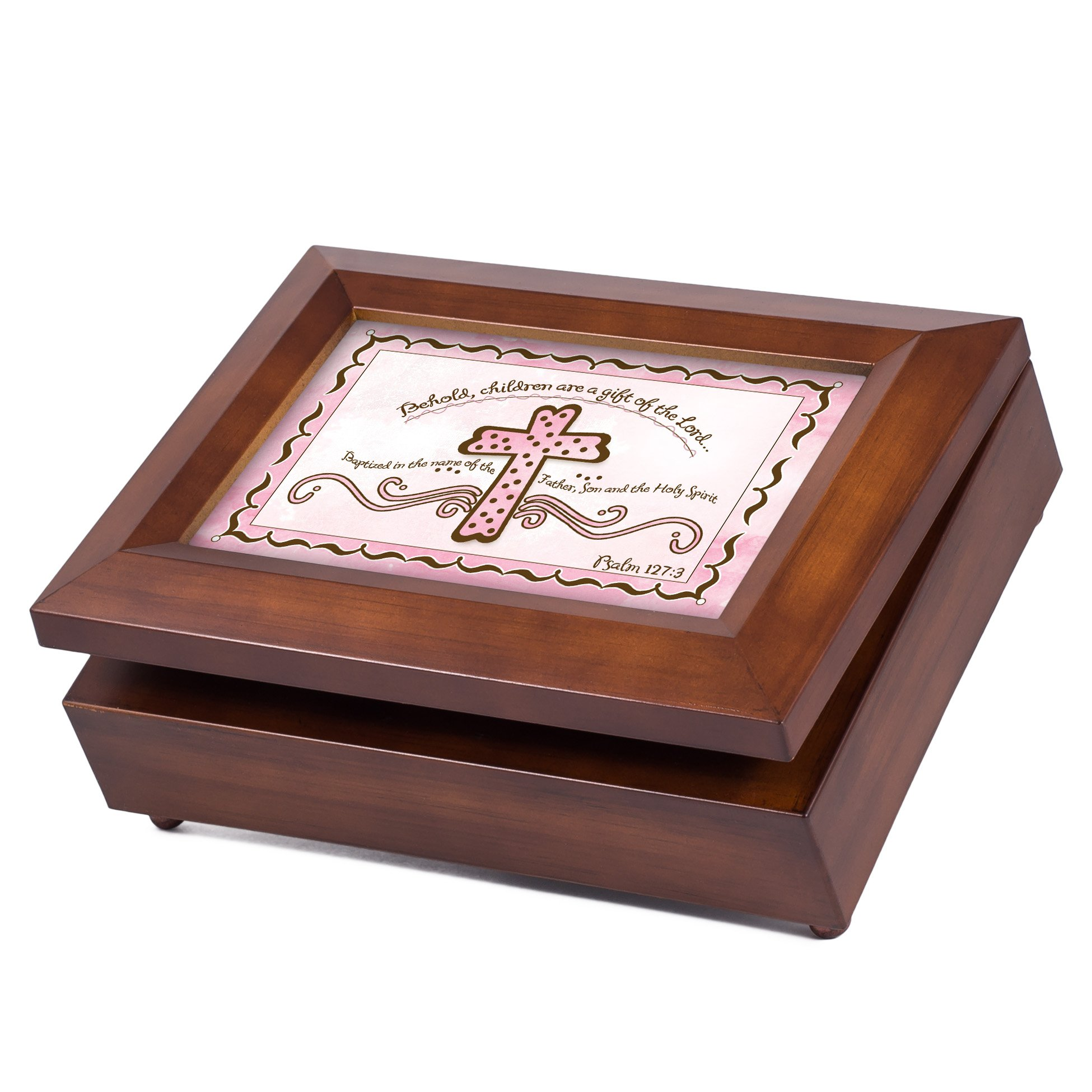Cottage Garden Baby Girl Baptism Cross Psalm 127:3 Wood Finish Jewelry Music Box - Plays Tune You Are My Sunshine by Cottage Garden (Image #3)