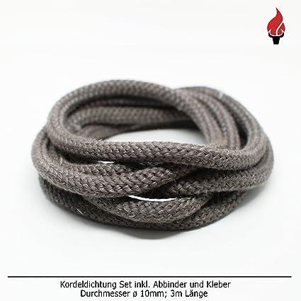 Junta para puerta y chimenea Set Incluye adhesivo y abbinder Junta de cordón 3 m, diámetro de 10 mm: Amazon.es: Bricolaje y herramientas