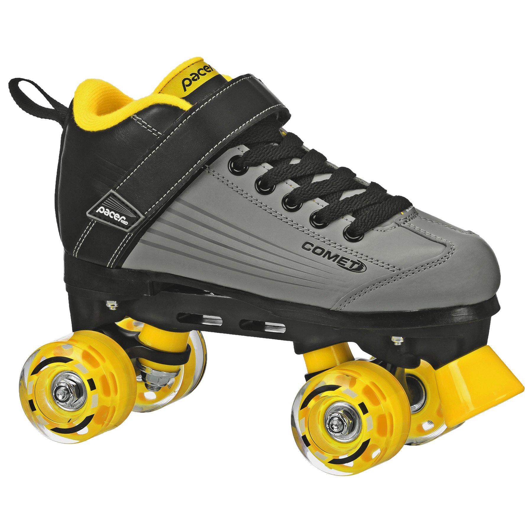 Pacer Comet Quad Kids Roller Skate, with Light Up Wheels, P973, black sz 4