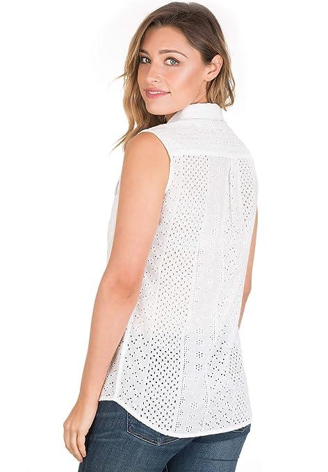 e2b5e9f6b45a50 CAMIXA Women's Boho Eyelet Lace Peasant Shirt Blouse Modern Wardrobe  Essential at Amazon Women's Clothing store: