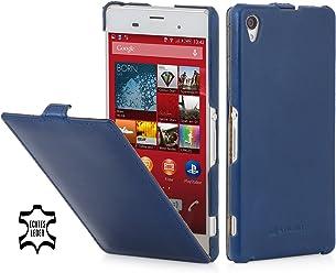 StilGut® UltraSlim Case, custodia in pelle per Sony Xperia Z3, blu notte