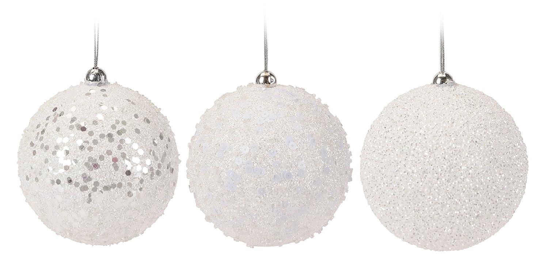 9er Set Weihnachtskugel weiß Glitzer 8cm - aus Styropor Bruchfest 9 ...