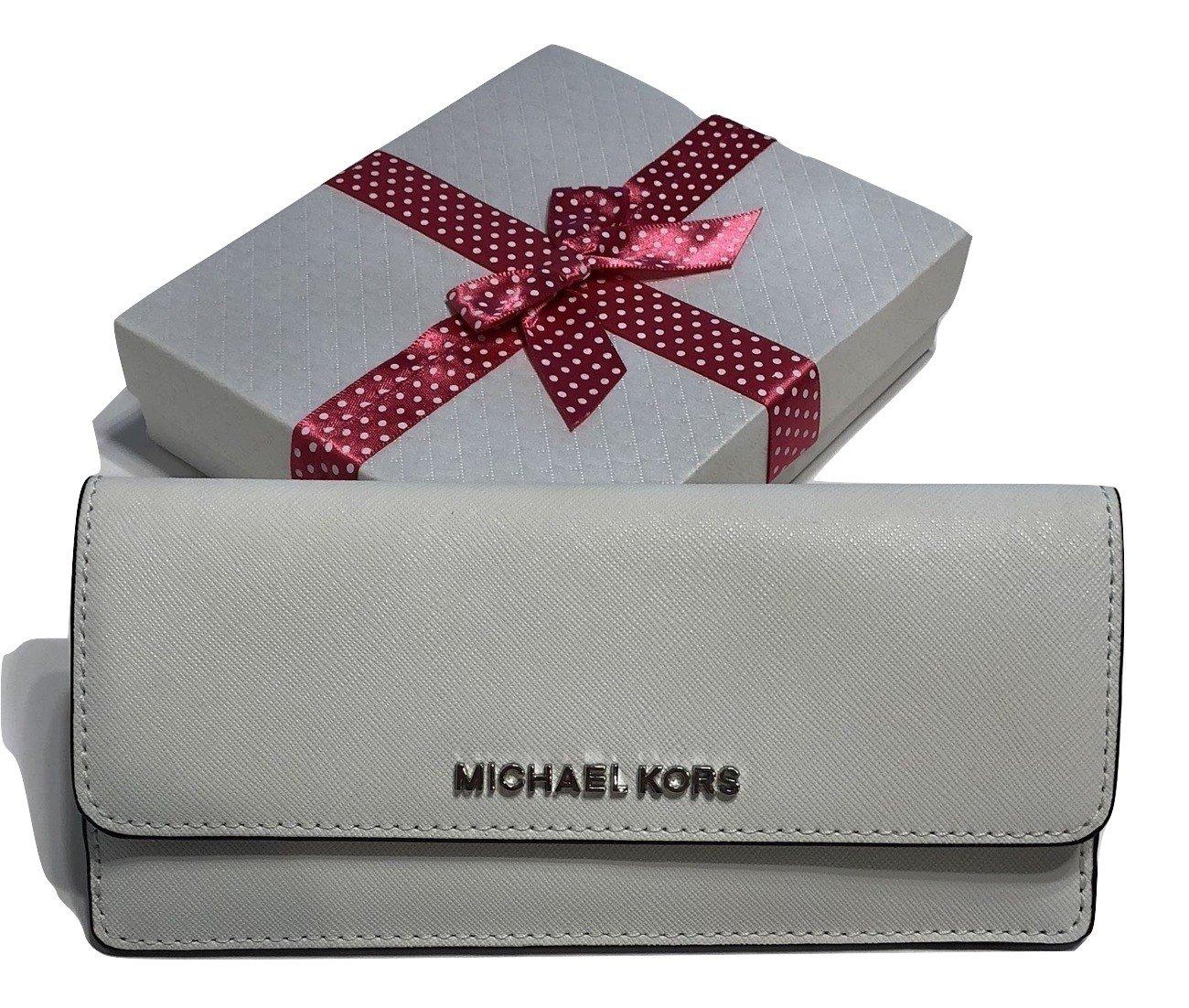 Michael Kors Jet Set Travel Flat Wallet Saffiano Leather (Optic White)