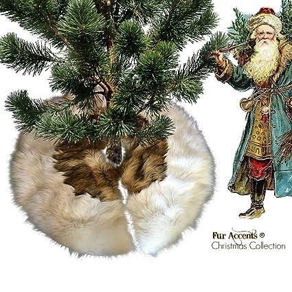 classic faux fur christmas tree skirt shaggy shag faux off white wolf bear skin