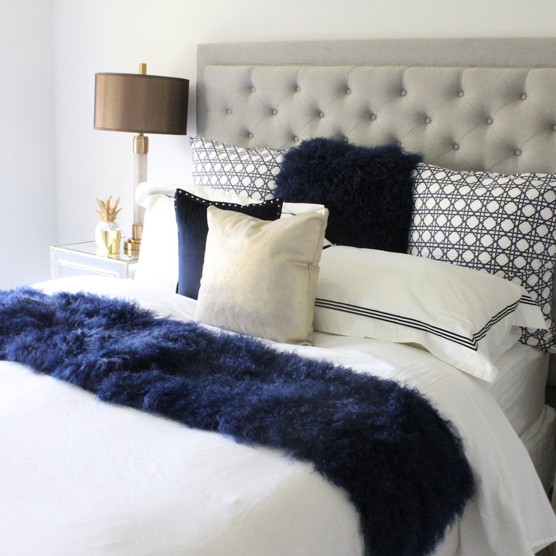 Genuine Navy BlueTibetan Mongolian Sheepskin Fur Bed Scarf Runner by ELuxury Home