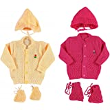 New Born Baby Woollen Knitted Baby Set (3Pcs Suit) (Pack of 2)