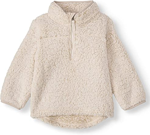 Wonder Nation Baby Toddler Boys /& Girls Mock Neck Quarter Zip Sherpa Pullover