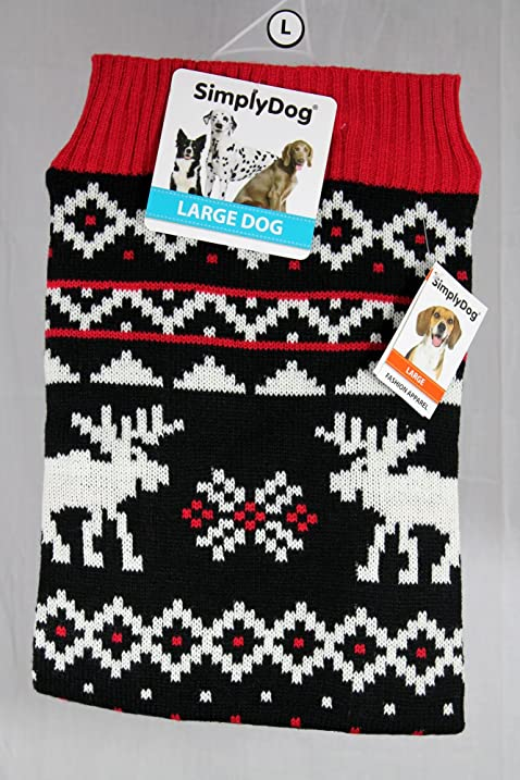 00366d2b274e Amazon.com   Red White Black Reindeer Christmas Dog Sweater Knit ...