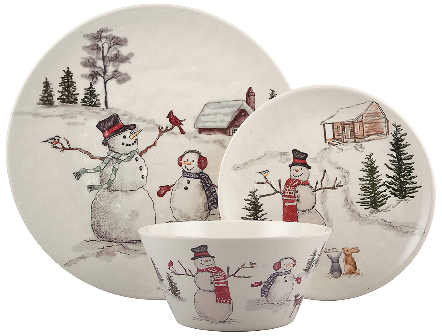 Melange 12-Piece 100% Dinnerware Set for 4 Christmas Collection-Snowman Shatter-Proof and Chip-Resistant Melamine Dinner Plate, Salad Plate & Soup Bowl (4 Each), 10.5