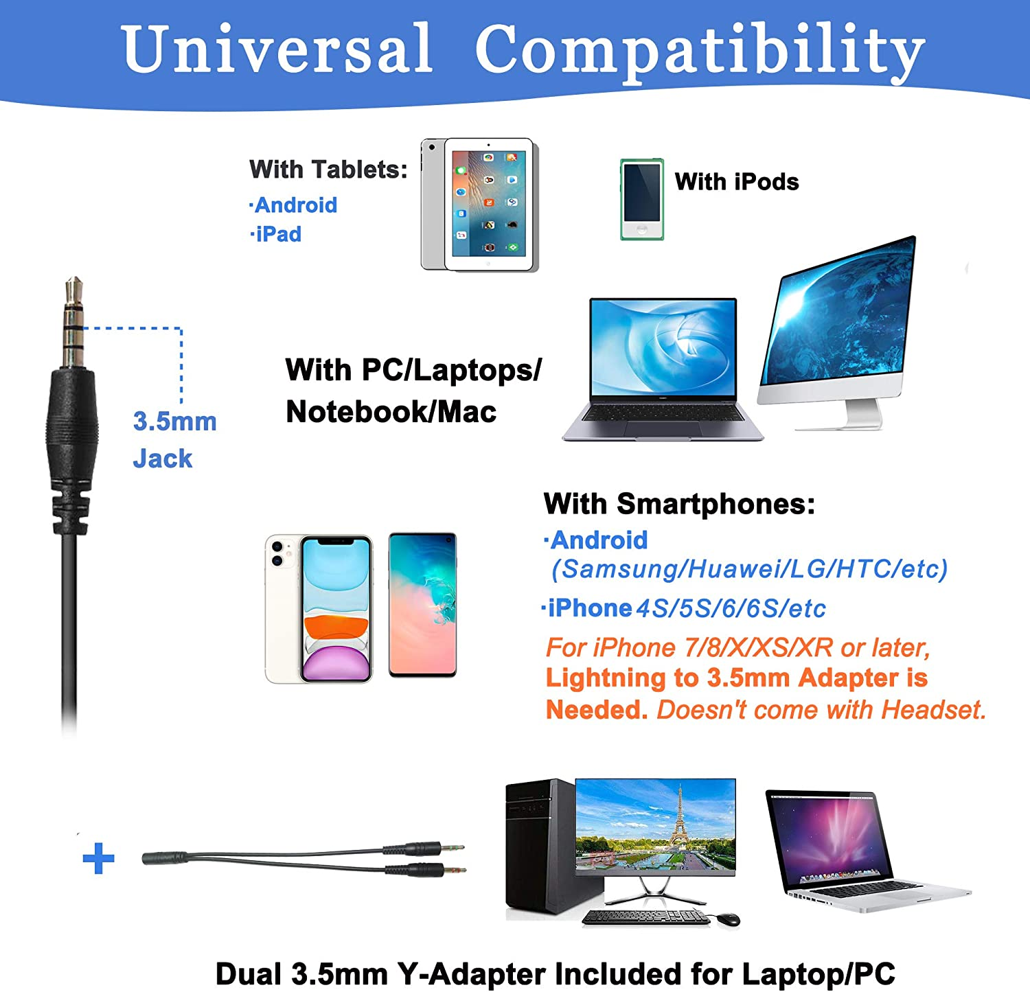 3.5mm Cell Phone Headphone for iPhone Samsung Skype Webinar Business Office Call Center Computer Headset with Microphone for Mobile Phone Laptop PC Tablet Ultra Comfort Clearer Voice