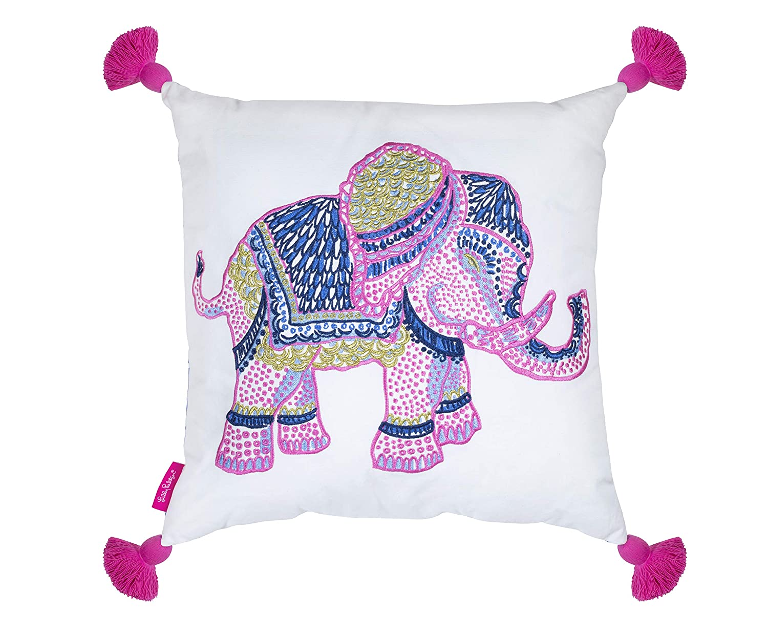 aad031438fd499 Amazon.com: Lilly Pulitzer Indoor/Outdoor Large Decorative Pillow,  Elephant: Home & Kitchen