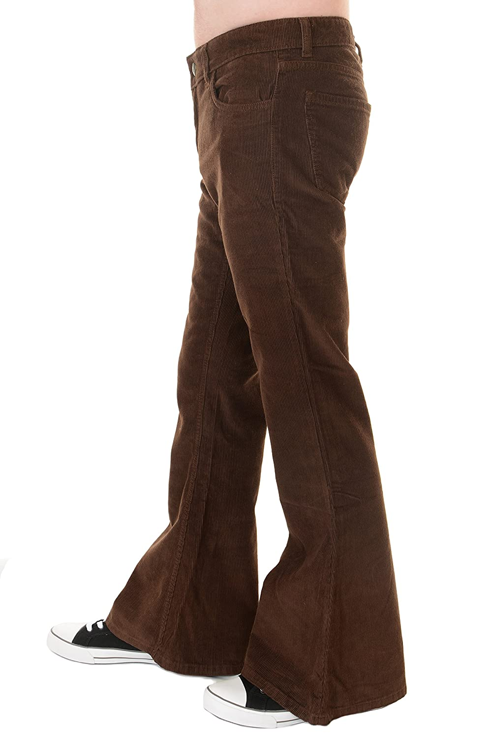 2019 professional rock-bottom price elegant shoes Run & Fly Mens 70s Vintage Retro Brown Corduroy Bell Bottom Flares