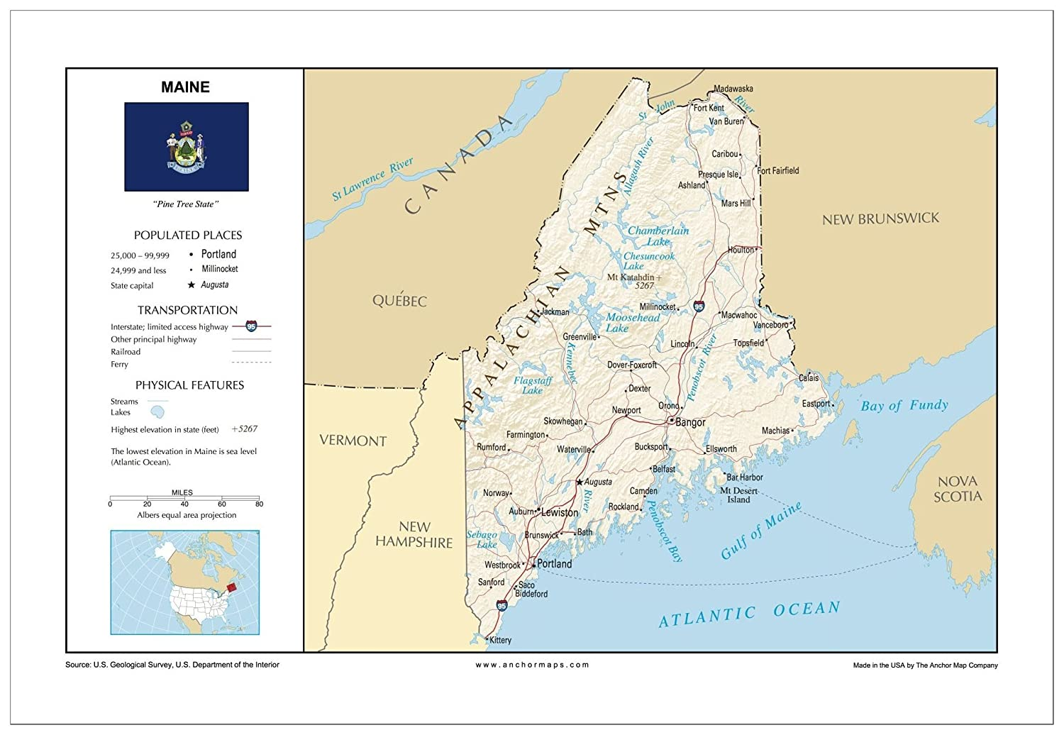 Amazon.com : 13x19 Maine General Reference Wall Map - Anchor ...