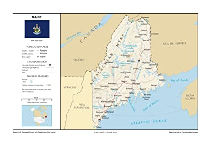 Amazon.com : 13x19 Maine General Reference Wall Map - Anchor Maps ...